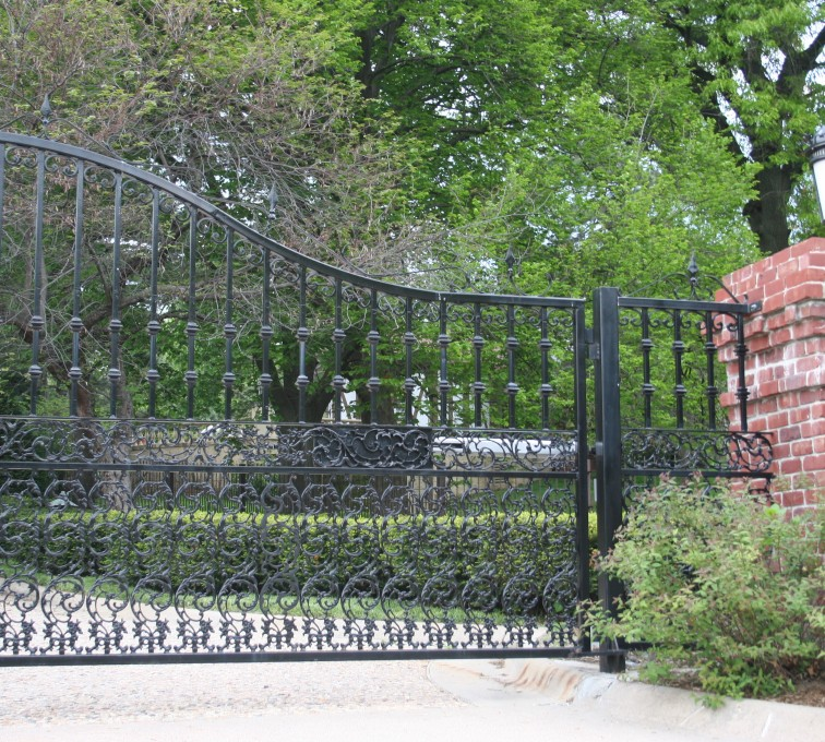 The American Fence Company - Custom Gates, Over Arch Estate Gate with Scroll Accent At Bottom