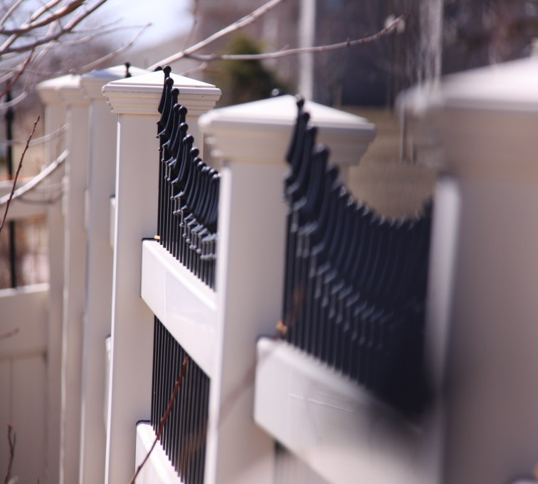 The American Fence Company - Vinyl Fencing, PVC with Steel Pic Accent #7