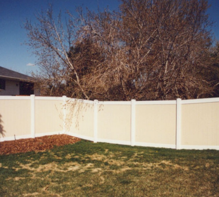The American Fence Company - Vinyl Fencing, Privacy Tan and White (616)