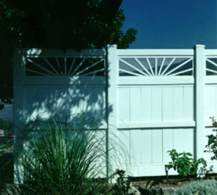The American Fence Company - Vinyl Fencing, Privacy with Sunburst 705