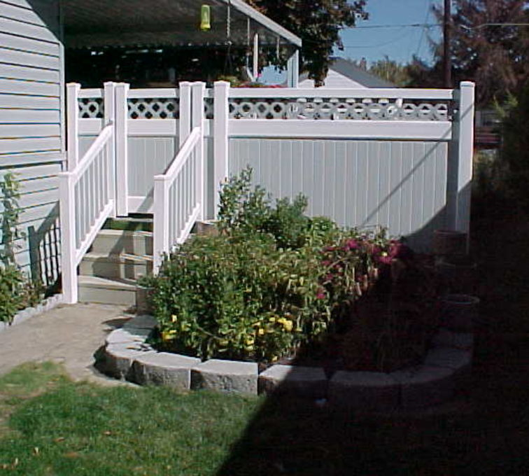 The American Fence Company - Vinyl Fencing, Privacy with greystone and lattice (657)
