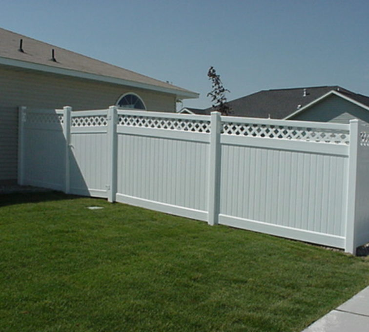 The American Fence Company - Vinyl Fencing, Privacy with lattice (658)