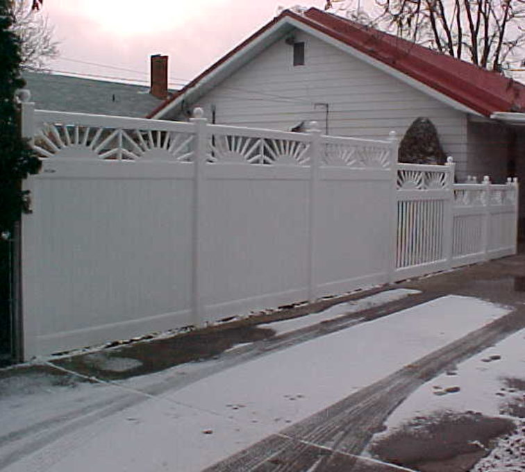 The American Fence Company - Vinyl Fencing, Privacy with Sunburst Accent 701