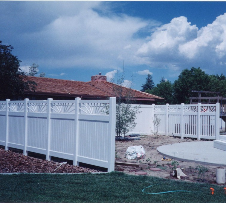 The American Fence Company - Vinyl Fencing, Privacy with Sunburst Accent 702