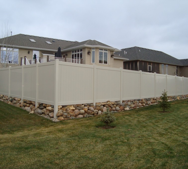 The American Fence Company - Vinyl Fencing, Solid Privacy - Sandstone
