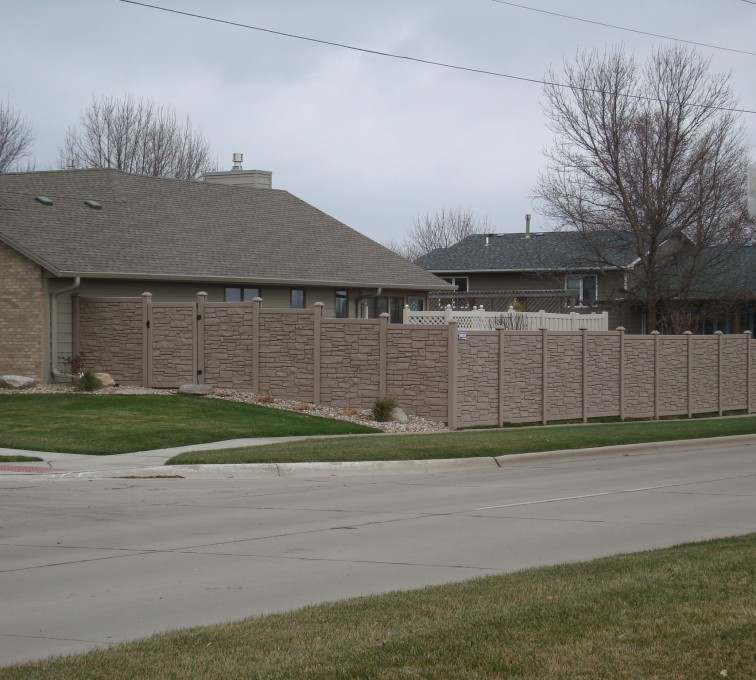 The American Fence Company - Vinyl Fencing, Solid Privacy Stone Accent