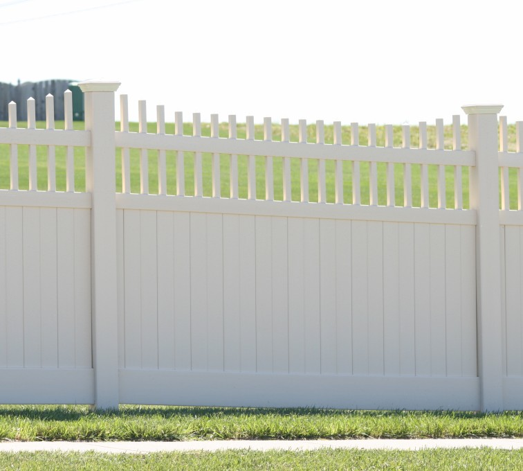 The American Fence Company - Vinyl Fencing, Solid Privacy with Underscallp Accent 961