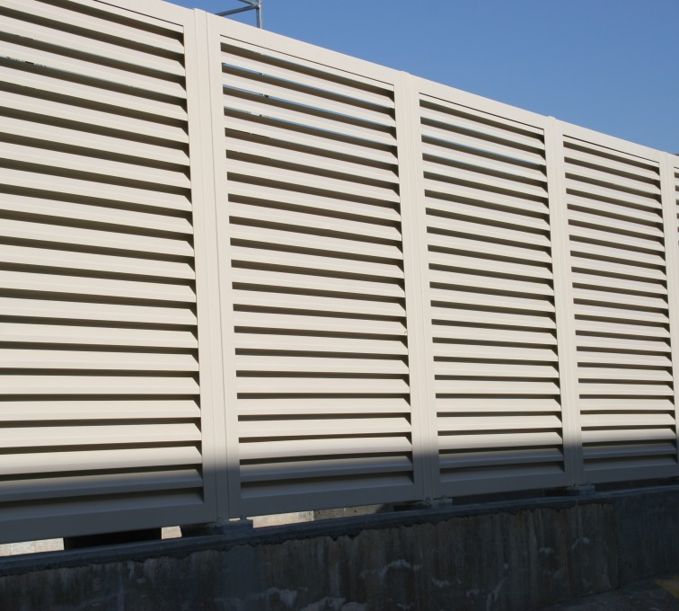 The American Fence Company - Louvered Screen System Aluminum Louvered Fence System