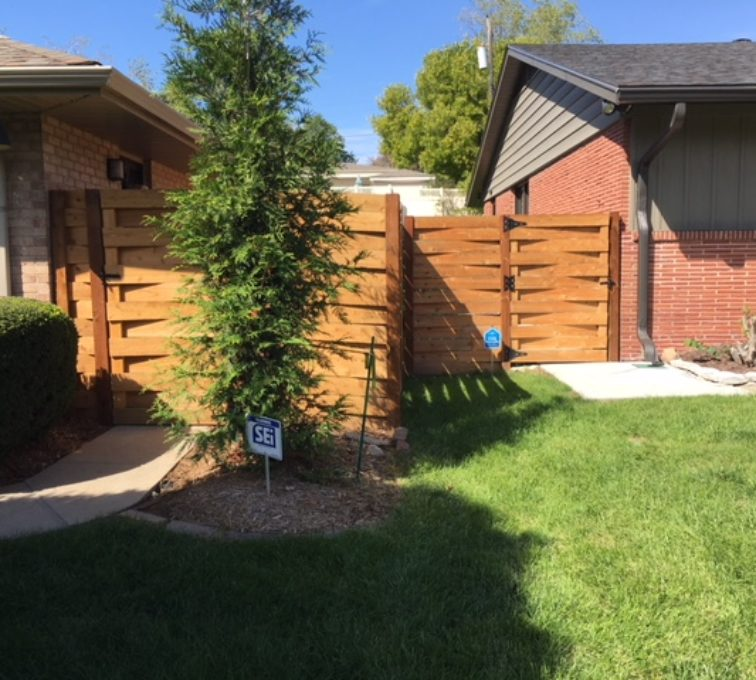 Basket weave custom wood fence