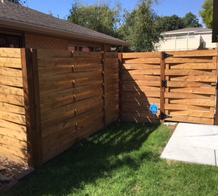 Custom wood basket weave fence