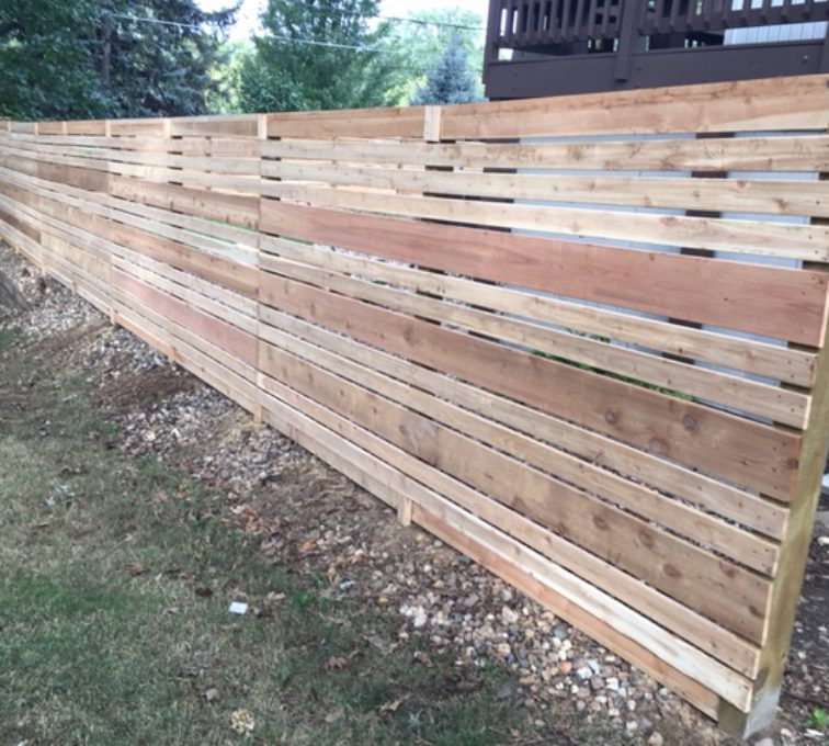 Horizontal wood custom fence