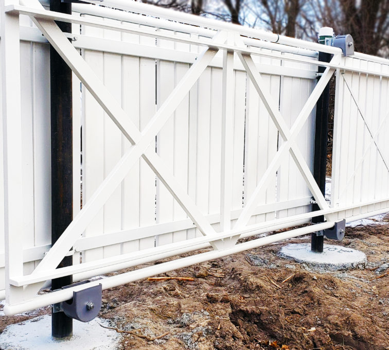 Custom Aluminum and Wood Automated Cantilever Gate