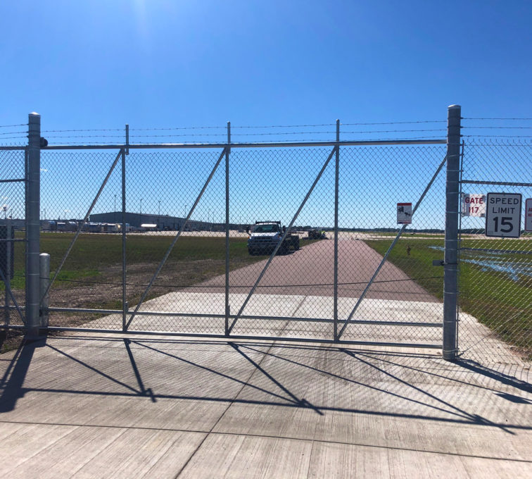 Chain Link Barbed Wire High Security Automated Cantilever Gate at Airport