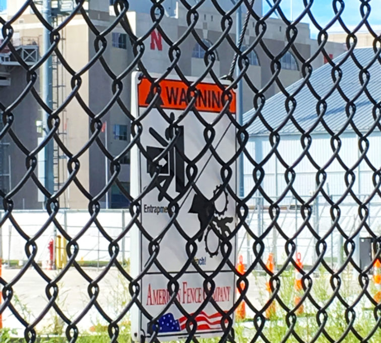 Black Vinyl Chain Link Automated Gate Signage