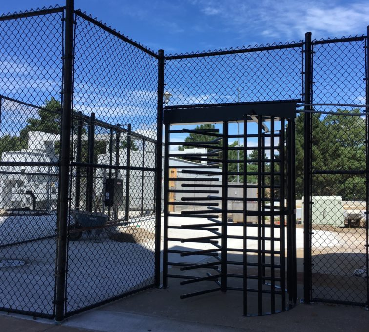 Black Vinyl Chain Link and Turnstile UNL Campus High Security Entry