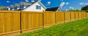 A pine privacy fence running across and bright green yard