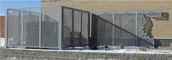 Mechanical equipment with a custom perforated metal screen