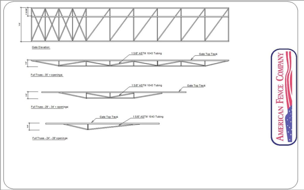 Comprehensive drawing of a cantilever gate that is utilizing trusses