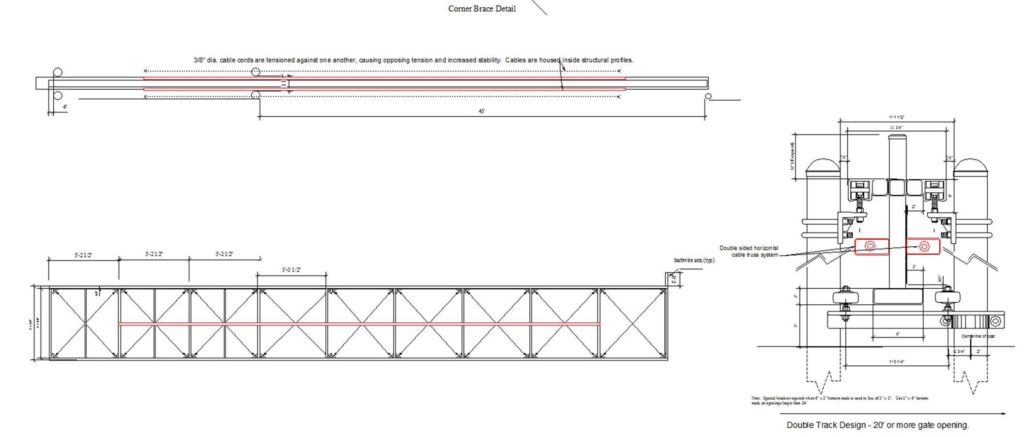 American Fence Company official drawings of cantilever gate trusses and how they work