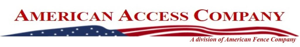 """The American Access Company logo, which mimics the American Fence Company logo with its American flag and red white and blue color scheme. At the bottom the text reads """"A division of American Fence Company"""""""