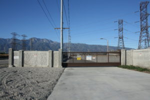 Cantilever high security gate at a substation entrance