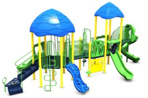 Playground equipped with multiple slides, ladders and play features