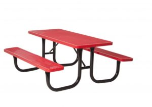 Red rectangular picnic table with attached benches