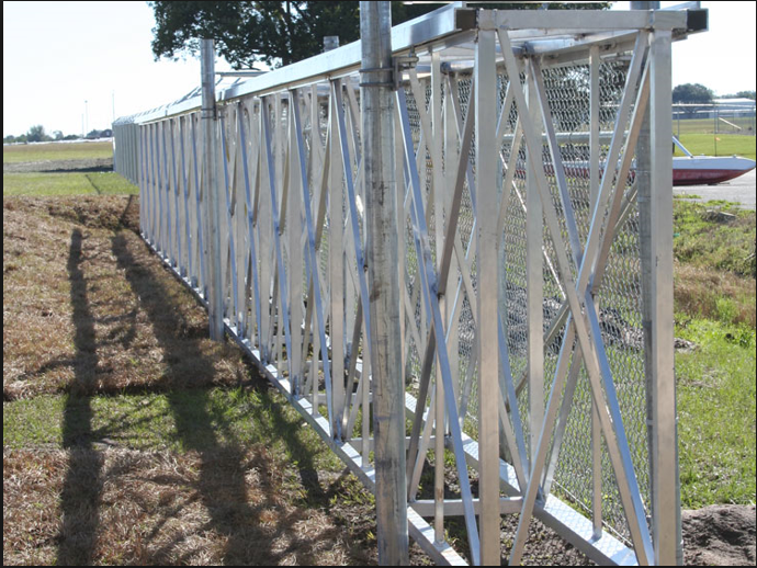 8' aluminum box cantilever gate with 4 gate support posts and diagonal trussing