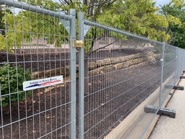 American Fence Rental's anti climb temporary fence with fottings